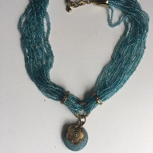Multi strand blue beaded necklace